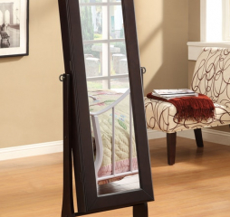 Transitional Jewelry Armoire and Cheval Mirror w/ Drawers by Coaster