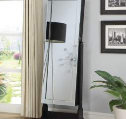 Transitional Black Storage Cheval Mirror and Jewelry Armoire by Coaster
