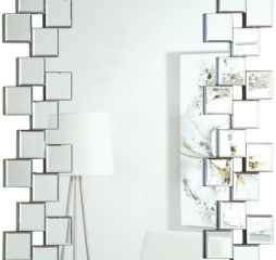 Silver Frameless Wall Mirror w/ Staggered Tiles by Coaster