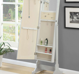 Transitional Dove Gray Storage Cheval Mirror and Jewelry Armoire by Coaster