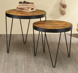 Industrial Honey Cherry and Black Two Piece Nesting Table Set by Coaster