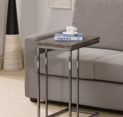 Transitional Weathered Gray and Black Nickel Expandable Top Accent Snack Table by Coaster