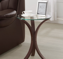 Transitional Round Cappuccino Accent Table by Coaster