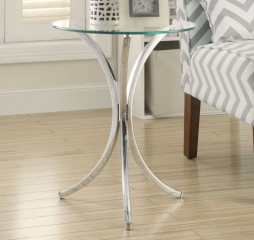 Chrome Round Accent Table w/ Curved Legs by Coaster
