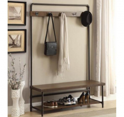 Chestnut and Dark Bronze Hall Tree w/ Five Hooks by Coaster