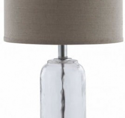 Gray and Clear Drum Shade Table Lamp by Coaster
