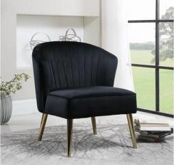 Upholstered Black Velvet Accent Chair by Coaster