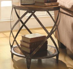 Casual Brown and Black Round Metal Accent Table by Coaster