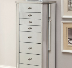 Contemporary Antique Silver Seven Drawer Jewelry Armoire by Coaster