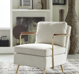 Beige and Brass Upholstered Accent Chair by Coaster