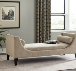 Beige Upholstered Bench w/ Wooden Legs by Coaster