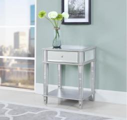 Contemporary Clear Mirrored One Drawer Rectangular Accent Table by Coaster