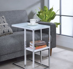 Contemporary Chrome and White One Shelf Accent Snack Table by Coaster