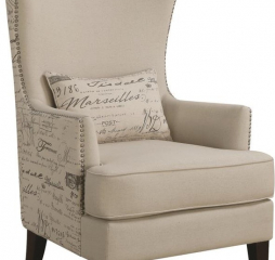 Traditional Cream Wingback Accent Chair by Coaster