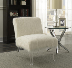 Contemporary White Faux Sheepskin Armless Accent Chair by Coaster