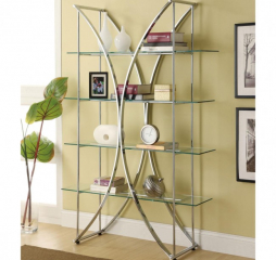 Contemporary Chrome and Glass Bookcase by Coaster