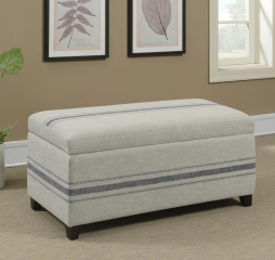 Gray Striped Upholstered Storage Bench by Coaster