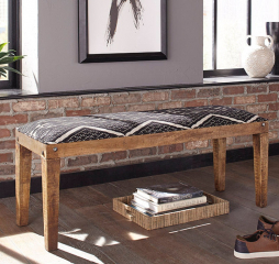 Natural and Navy Serene Rectangular Upholstered Bench by Coaster