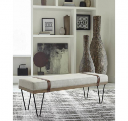 Beige and Black Upholstered Bench by Coaster