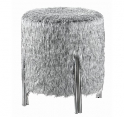 Gray Round Faux Fur Upholstered Ottoman by Coaster