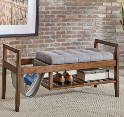 Walnut and Gray Slatted Shelf Bench by Coaster