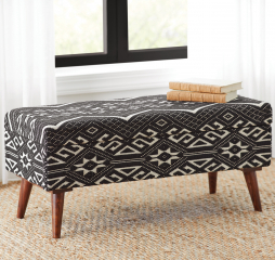 Black and White Upholstered Storage Bench by Coaster