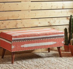 Orange and Beige Upholstered Storage Bench by Coaster