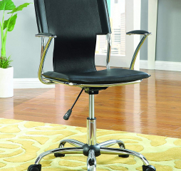 Chrome Contemporary Black Adjustable Office Chair by Coaster