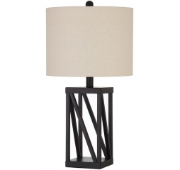Transitional Beige and Black Geometric Base Table Lamp by Coaster
