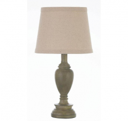 Transitional Light Faux Wood Creamy White Table Lamp w/ Drum Shade by Coaster