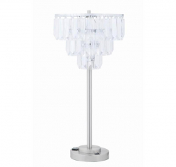 Tiered Chrome and Crystal Metal Base Table Lamp by Coaster