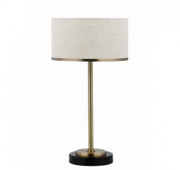 Beige and Brass Drum Shade Table Lamp by Coaster