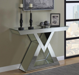 Clear Mirror Console Table w/ Triangle Base by Coaster