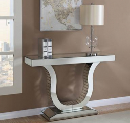Clear Mirror Console Table w/ U-Shaped Base by Coaster