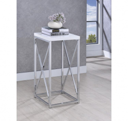 Glossy Chrome Accent Table w/ X Cross by Coaster