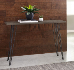 Concrete and Black Rectangular Console Table by Coaster