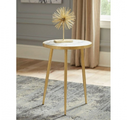 Modern White Marble and Gold Round Accent Table by Coaster
