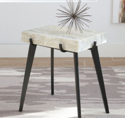 Contemporary Black and White Marble Rectangular Accent Table by Coaster