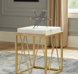 White and Gold Square Accent Table by Coaster