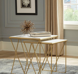 Modern White Marble and Gold Two Piece Nesting Table Set by Coaster