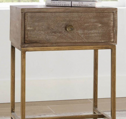 Weathered Natural Wood and Antique Gold One Drawer Accent End Table by Coaster