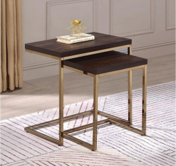 Chrome Two Piece Nesting Table by Coaster