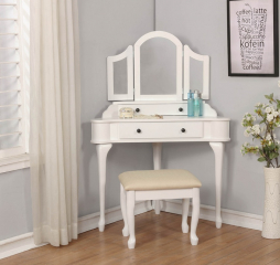 Transitional White and Cream Two Piece Corner Vanity Set by Coaster