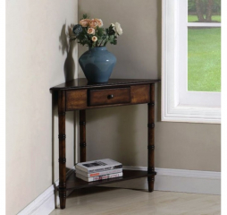 One Drawer Cherry Corner Accent Table by Coaster