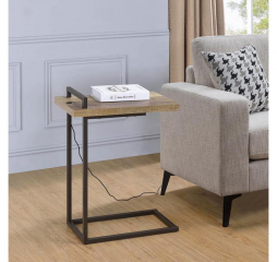 Weathered Pine Rectangular Top Accent Table w/ USB Port by Coaster