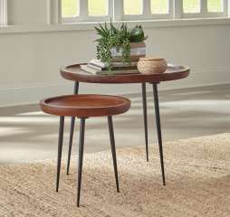 Cinnamon and Gunmetal Two Piece Nesting Table Set by Coaster