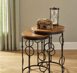 Brown and Black Gunmetal Two Piece Round Nesting Table Set by Coaster