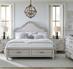 Belhaven Upholstered Panel Bed w/ Storage Footboard by Legacy Classic