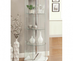 Clear Four Shelf Hexagon Shaped Curio Cabinet by Coaster