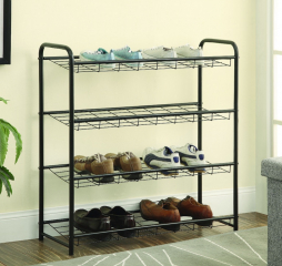 Black Four Shelf Metal Shoe Rack by Coaster